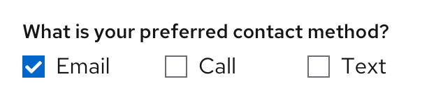 Example of form question with checkboxes aligned horizontally