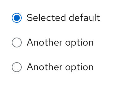 Example of radio button options
