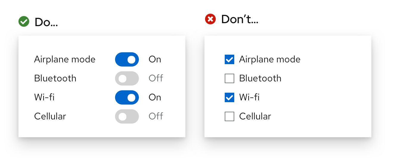 Example 2 of do and don'ts for checkbox vs switch usee